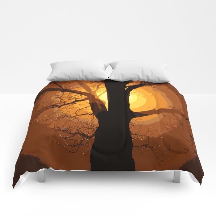 Sunset over the Tree I Comforters