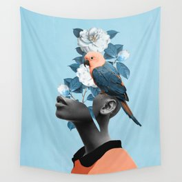 Girl with parrot Wall Tapestry