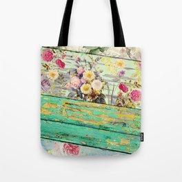 Villa Rosa Shabby Roses and Wood Tote Bag