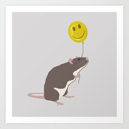 Rat with a Happy Face Balloon Art Print