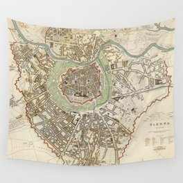 Vintage Map of Vienna Austria (1833) Wall Tapestry