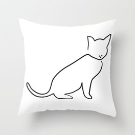 Contour Line Cat Throw Pillow
