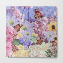 Butterflies and Flowers Collage Metal Print
