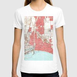 Vintage Map of Long Beach California (1949) 3 T-shirt