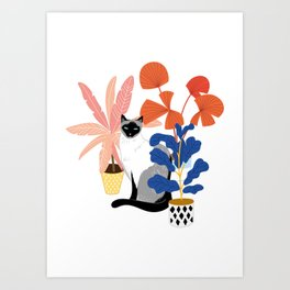 siamese cat and plants Art Print