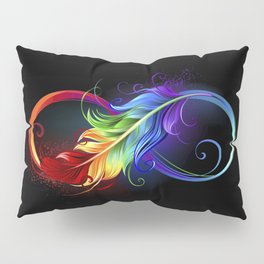 Infinity with rainbow feather on black background Pillow Sham