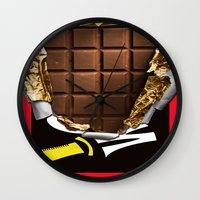 willy wonka Wall Clocks featuring Wonka Chocolate Bar by ThreeBoys