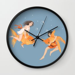 Girls Playing with Goldfish Wall Clock