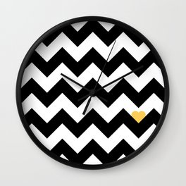 Heart & Chevron - Black/Yellow Wall Clock