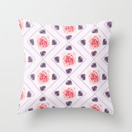 Smudged Roses Throw Pillow