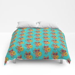 Frenchie at the beach in Summer Comforters