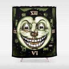 Black Cat 13 Halloween Clock Shower Curtain