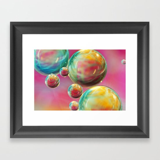 Tropical Feather Bubble Abstract Framed Art Print