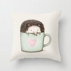 Hedgehog in a Mug Throw Pillow