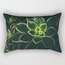 Dark Green Succulents - Nature Photography Rectangular Pillow