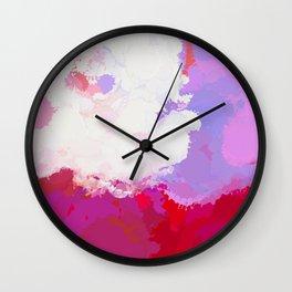Purple watercolor abstract splatter Wall Clock