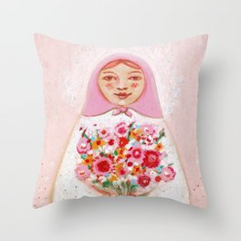 Matryoshka with flowers Throw Pillow