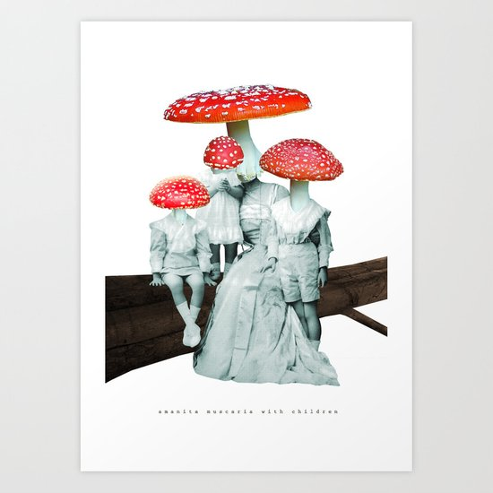 amanita muscaria with children Art Print