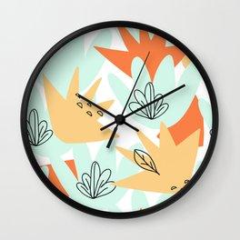Terra Cotta and Teal Geometry Wall Clock