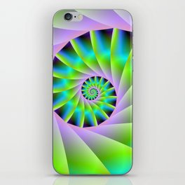 Turquoise Lilac and Green Spiral iPhone Skin