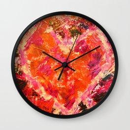 MEND ME - Broken Heart Abstract Artwork Bright Bold Crimson Red Magenta Black Leopard Print Wall Clock