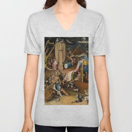 Visions of Hell by Heironymus Bosch Unisex V-Neck