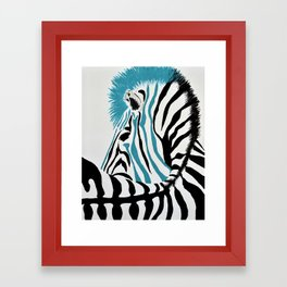 punk rock zebra Framed Art Print