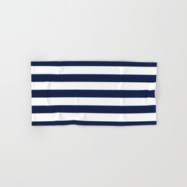 Nautical Navy Blue and White Stripes Hand & Bath Towel