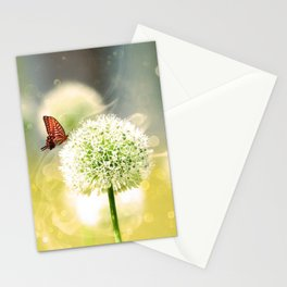 Allium fantasy flowers with butterfly Stationery Cards
