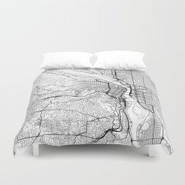 Portland Map White Duvet Cover