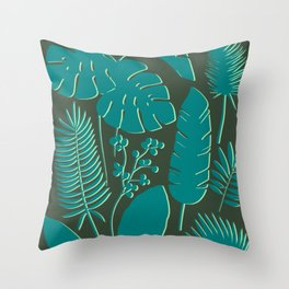 Leaves in Green Throw Pillow