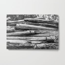 Hand Cut Lumber From Dismantled Log Barn 1 Metal Print
