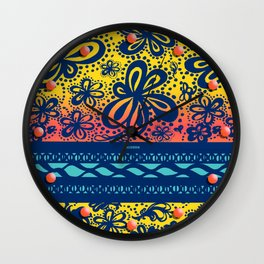 dots and flowers Wall Clock