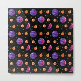 Vector pattern summer fruits - orange and watermelon. Minimalistic style black pattern Metal Print