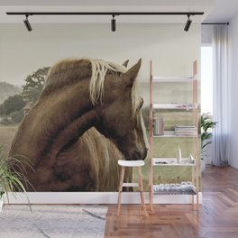 brown horse on the hill Wall Mural