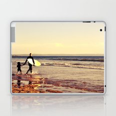 Father and son surfing colour Laptop & iPad Skin