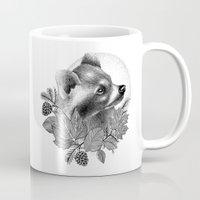 raccoon Mugs featuring RACCOON by Thiago Bianchini