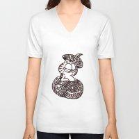 garfield V-neck T-shirts featuring 37. Garfield in Henna Pumpkin @ Halloween  by Hennaart yume by kat