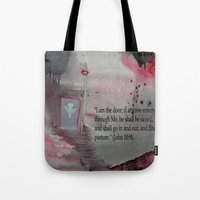religious Tote Bags featuring The Door----Religious Abstract Art --- John 10:9 --- by Saribelle Rodriguez by Saribelle Inspirational Art