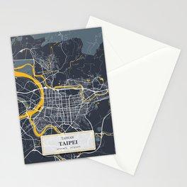 Taipei Taiwan City Map with GPS Coordinates Stationery Cards