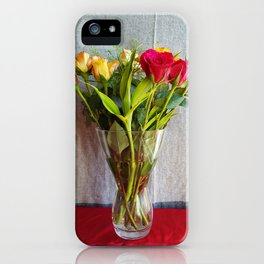 Flowers in a vase - with red and yellow roses iPhone Case