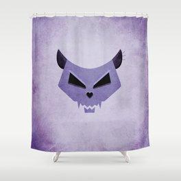 Purple Funny Evil Cat Skull Shower Curtain