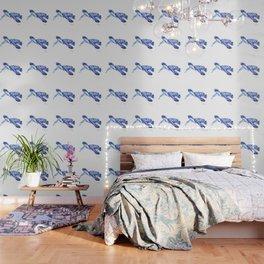Indigo blue Sea Turtle, swimming turtle blue artwork beach house decor Wallpaper