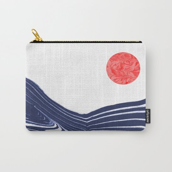 Furoshi - spilled ink marble water wave painting sun sea waves water aqua seaside abstract minimal  Carry-All Pouch