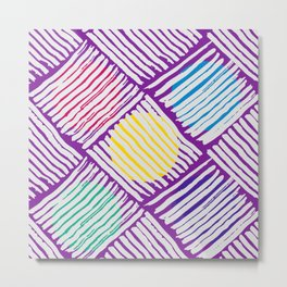Purple Pattern with White Lines and Colors Circles Metal Print