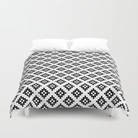 kilim Duvet Covers featuring Southwest in black and white modern traditional geometric aztec native print design desert kilim  by CharlotteWinter