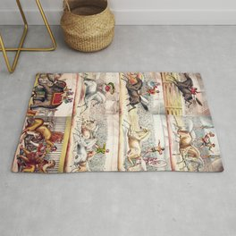 1875 Montage of Traveling America Circus Acts Posters Rug