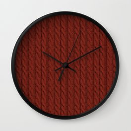 Red Cable Knit Sweater knitting design Wall Clock