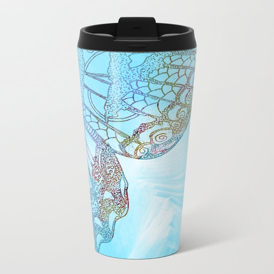 Colorful Abstract Butterfly Design Metal Travel Mug