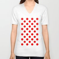polka V-neck T-shirts featuring Polka Dots (Red/White) by 10813 Apparel
